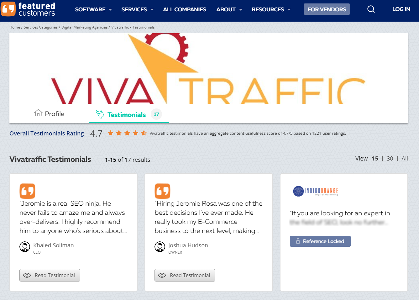 A screenshot of five-star reviews for Viva Traffic SEO for electricians.